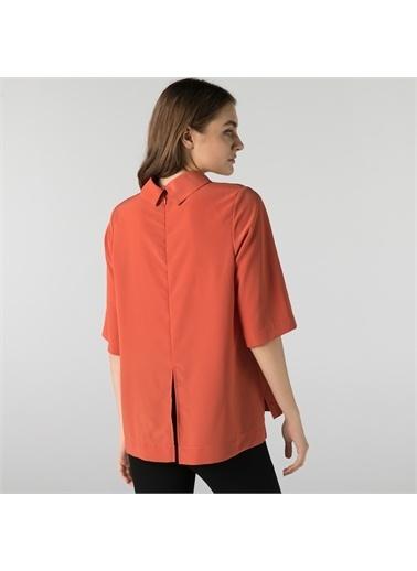 Lacoste Lacoste Kadın Loose Fit Kısa Kollu Boğazlı Yaka Turuncu Bluz Oranj